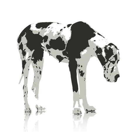 Labrador Retriever dogs Water color Stype on White Background. Vector  illustration
