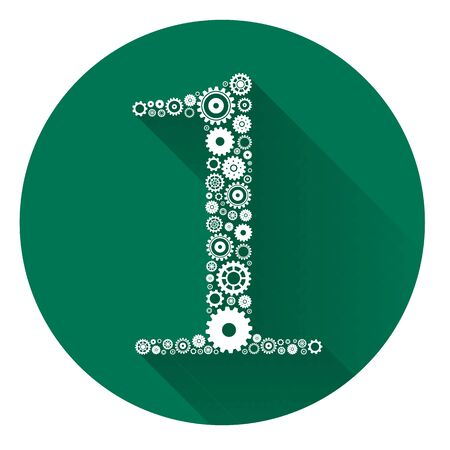 threaded: Number One formed by gears with Long Shadow .EPS10 Illustration