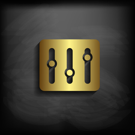 wave equality: Equalizer sign icon gold color with long shadow Illustration