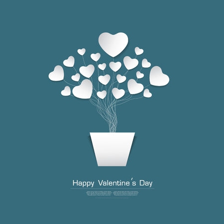 paper heart: Happy Valentines day greeting card with White Heart paper cut stype on Green background, vector Desgin