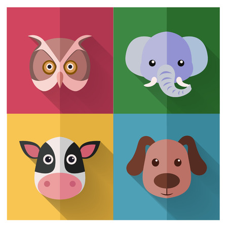 mixed forest: Animal Icon Set with Flat Design Illustration