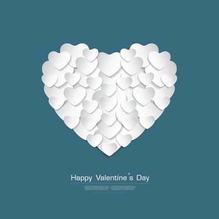 white heart: Happy Valentines day greeting card with White Heart paper cut on Green background