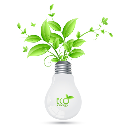 energies: ECO Energy design with tree growing from bulbs
