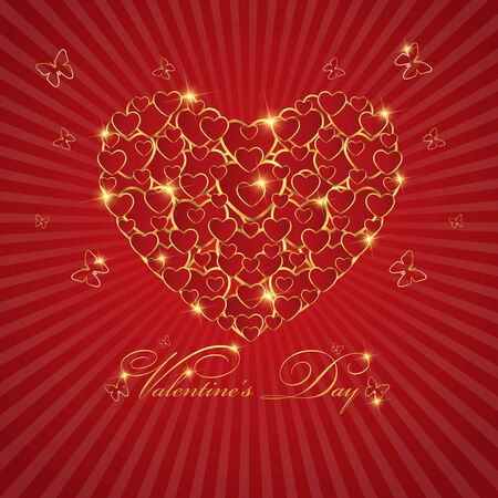 gold heart: Happy valentines day love Greeting Card With Gold  Heart on Red background Illustration