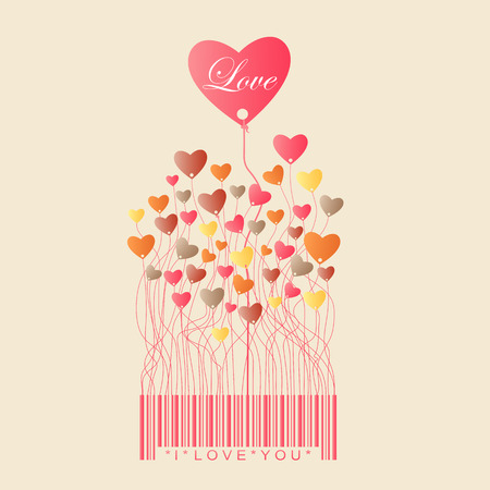 codebar: Design for Valentines Day with color full Heart grow from the bar code Illustration