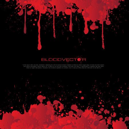 Abstract bloed ploetert geïsoleerd op een zwarte achtergrond, vector design
