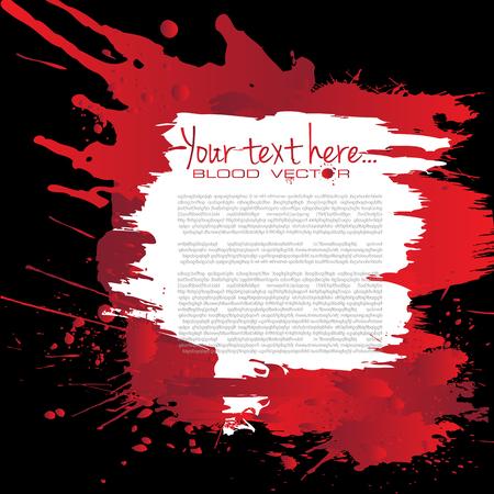 Estratto splatter di sangue isolato su sfondo nero, disegno vettoriale