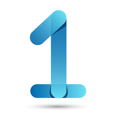 Number One Papercut style with blue color on white background Vector Illustration