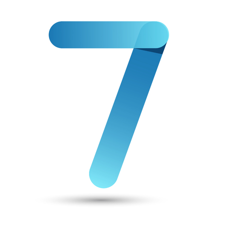 art design: Number Seven Papercut style with blue color on white background