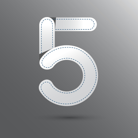 premier: Number Five with white and gray color . Vector design template elements for your design