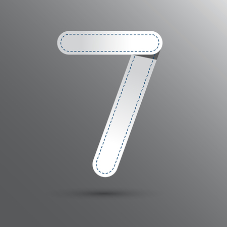 seventh: Number Seven with white and gray color . Vector design template elements for your design Illustration