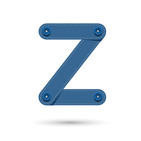 studs: Z font vector blue Jeans with studs on White background, Futuristic font, Cosmic, Vector alphabet set, Elegant light font , typeface, typography, typewriter.