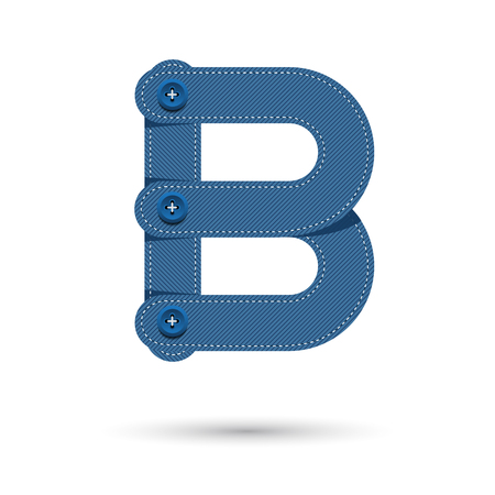 studs: B font vector blue Jeans with studs on White background, Futuristic font, Cosmic, Vector alphabet set, Elegant light font , typeface, typography, typewriter.