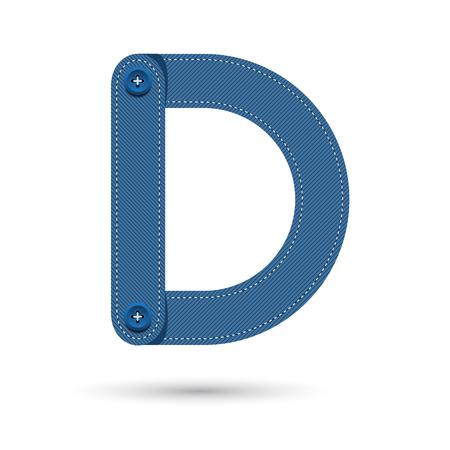 studs: D font vector blue Jeans with studs on White background, Futuristic font, Cosmic, Vector alphabet set, Elegant light font , typeface, typography, typewriter. Illustration