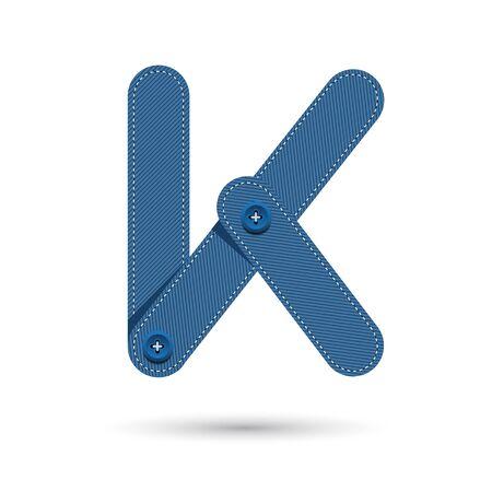 studs: k font vector blue Jeans with studs on White background, Futuristic font, Cosmic, Vector alphabet set, Elegant light font , typeface, typography, typewriter. Illustration