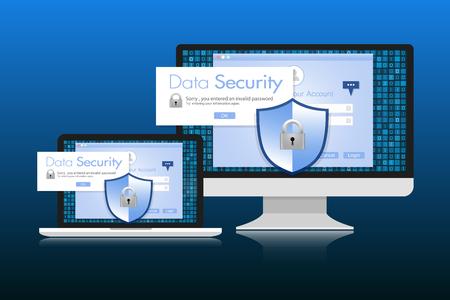 sensitive: Concept is data security. Shield on Computer Desktop or Laptop protect sensitive data. Internet security. Illustration. Illustration