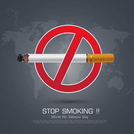 smoldering: No smoking sign on Dark background for World No Smoking Day.