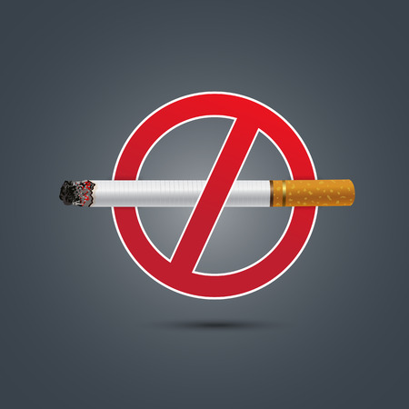 smoldering: No smoking sign on Dark background