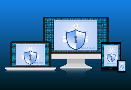 sensitive: Concept is data security. Shield on computer,Laptop, Smart phone and Tablet  protect sensitive data. Internet security. Illustration.