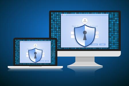 sensitive: Concept is data security. Shield on computer or Laptop protect sensitive data. Internet security. Illustration. Illustration
