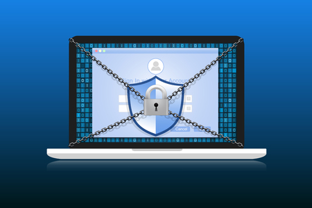 Concept is data security. Shield on Laptop protect sensitive data. Internet security. Illustration.