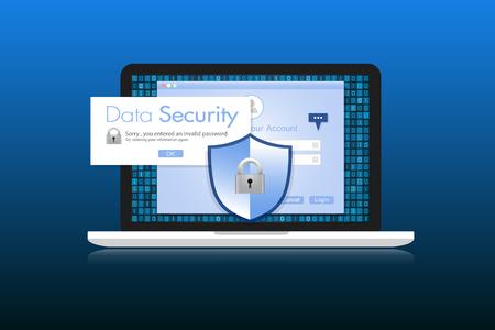 sensitive: Concept is data security. Shield on Laptop protect sensitive data. Internet security. Illustration.