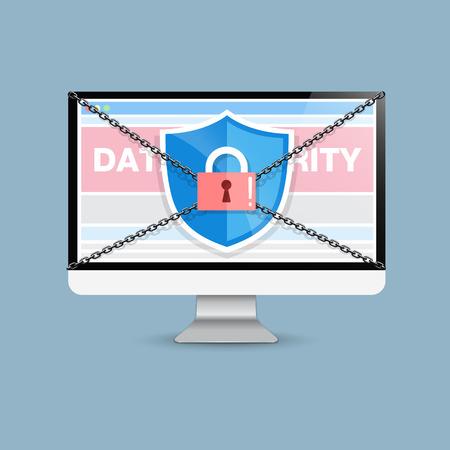 sensitive: Concept is data security . Shield on Computer Desktop or Laptop protect sensitive data. Internet security. Illustration