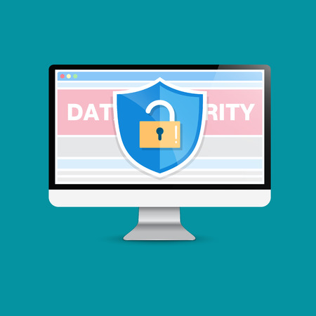 sensitive: Concept is data security Access success. Shield on Computer Desktop  protect sensitive data. Internet security. Illustration.