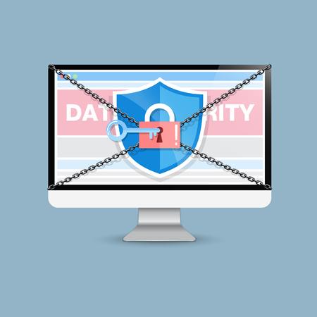 sensitive: Concept is data security . Shield on Computer Desktop protect sensitive data. Internet security.