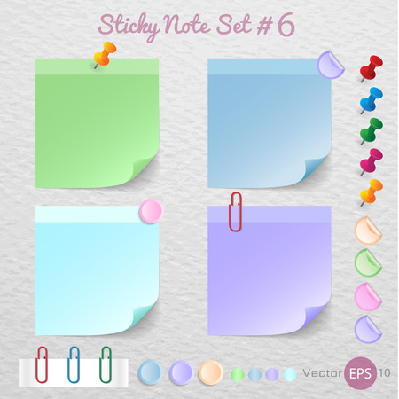 stick note: Stick note paper with Color set Isolate on white  background,Illustration
