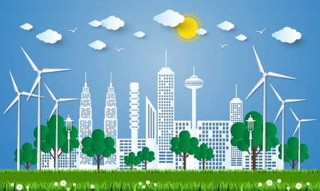 environment protection: The concept of City go Green,Green City concept. Illustration