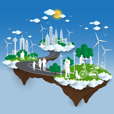 The concept of City go Green,Green City concept. paper cut Stlye .Illustration Çizim