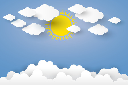 The sun and Cloud in blue sky Paper art Style.