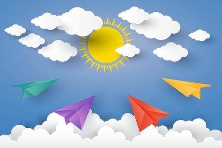 rainbow umbrella: Color full Paper Plan in blue sky  Paper art Style.