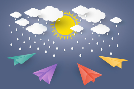 rainbow umbrella: Color full Paper Plan in blue sky with rain Paper art Style. Illustration