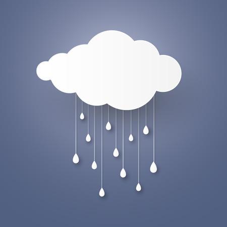Nuvola nel cielo blu con stlye carta la pioggia d'arte.