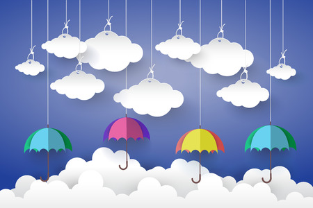 rainbow umbrella: Full color Umbrella with Cloud in Blue sky  Paper art Style.