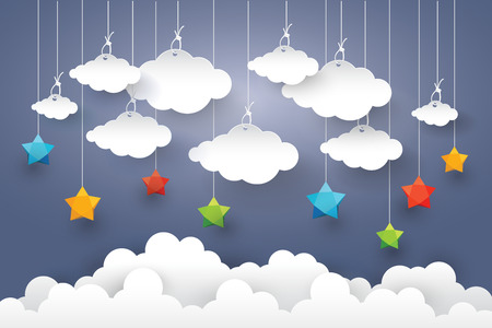 paper art: Cloud in Blue sky with Star Paper art Style. Illustration
