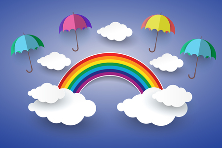 rainbow umbrella: The concept is happy day ,Full color umbrella in Blue sky with Rainbow and Cloud Paper art Style. Illustration