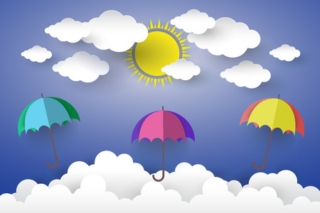 The concept is happy day ,Full color umbrella in Blue sky with Sun and Cloud  Paper art Style. Illustration