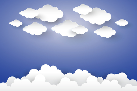 Cloud in Blue sky Paper art Style. Illustration
