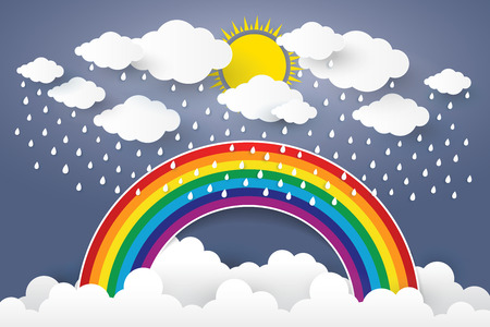Cloud in Blue sky with Rain and Rainbow Paper art Style.