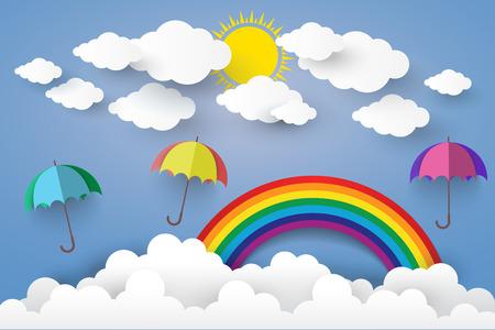 rainbow umbrella: Full Color Umbrella with Cloud  Paper art Style.