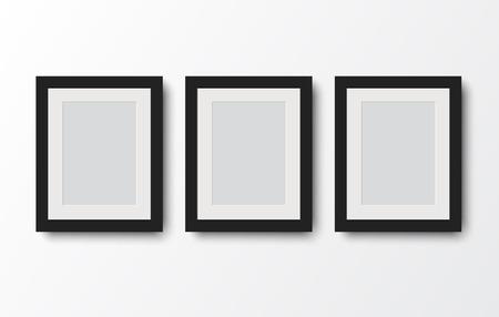 blank photo frame on the wall.vector illustration Vettoriali