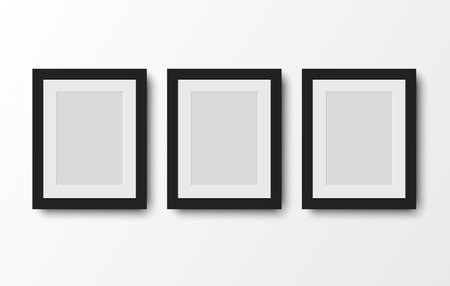 blank photo frame on the wall.vector illustration Stock Illustratie
