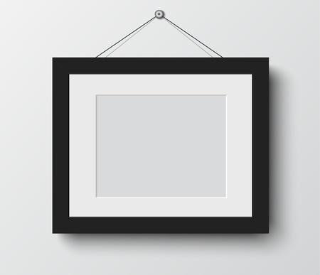 art museum: blank photo frame on the wall.vector illustration Illustration