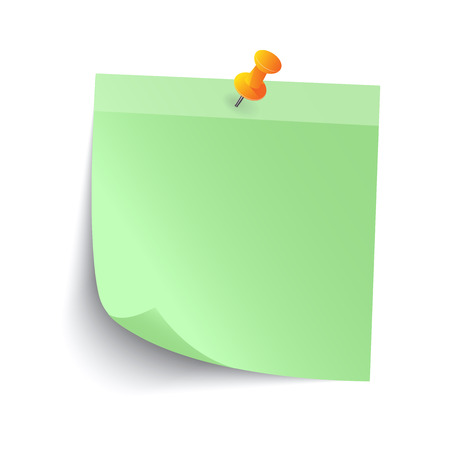 coordinated: Blank Green Sticky note isolate on gray background, vector illustration Illustration