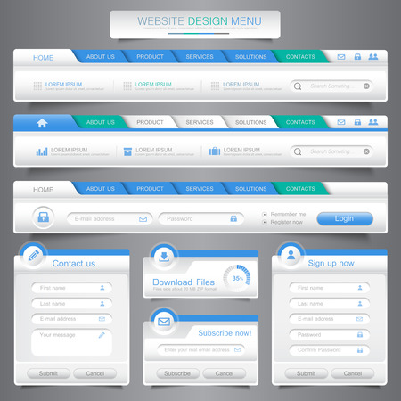 Web site design menu navigation elements with icons set. Navigation menu bars,vector design element eps10 illustration