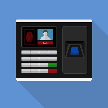 Flash Design style with long shadow the access control machine or time the attendance machine with access is fail on screen ,vector design Element illustration Illusztráció