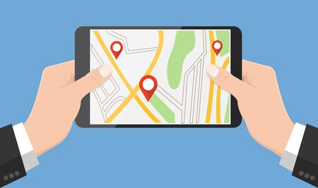 gps device: Flat design style human hand  holding smartphone or tablet with map app on the screen , vector design element illustration